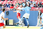 14 December 2008: Maryland's Casey Townsend (left) and UNC's Eddie Ababio (9). The University of Maryland Terrapins defeated the University of North Carolina Tar Heels 1-0 at Pizza Hut Park in Frisco, TX in the championship game of the 2008 NCAA Division I Men's College Cup.