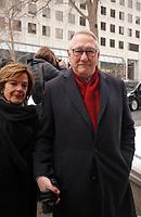 """Gerald Tremblay et son epouse arrivent aux  funerailles du Pere Emmett Johns, """"Pops"""", celebres par l'Archevque de Montreal Christian Lepine, le 27 Janvier 2018 a la Basilique Saint-Patrick. <br /> <br /> PHOTO :  Agence Quebec Presse"""