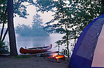 Lakeside campsite on Kezar Lake, Lovell, Oxford County, Maine, USA