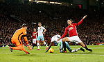 Cheikhou Kouyate of West Ham United does enough to put off Zlatan Ibrahimovic of Manchester United during the English League Cup Quarter Final match at Old Trafford  Stadium, Manchester. Picture date: November 30th, 2016. Pic Simon Bellis/Sportimage