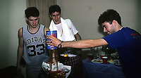 Beastie Boys trash a dressing room backstage at The Rosemont Horizion in Rosemiont, Illinois. <br /> July 31,1987<br /> CAP/MPI/GA<br /> ©GA/MPI/Capital Pictures