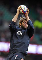 Geoff Parling wins lineout ball during the pre-match warm-up. RBS Six Nations match between England and Italy on March 10, 2013 at Twickenham Stadium in London, England. Photo by: Patrick Khachfe / Onside Images