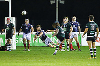 Dan Mugford of Nottingham Rugby scores a last minute drop kick to win the game during the Greene King IPA Championship match between London Scottish Football Club and Nottingham Rugby at Richmond Athletic Ground, Richmond, United Kingdom on 16 October 2015. Photo by David Horn.