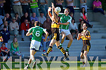 In Action Currow Vs St. Brendans in the Kerry Senior County Football Championship Round 2 at Currow GAA field on Friday.<br /> Seamus Flynn (Currow) and Kevin Shanahan (St Brendan's) jump for the ball (No 6 Mikey Brennan).