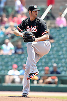 Norfolk Tides starting pitcher Rick Vandenhurk #56 delivers a pitch during a game against the Rochester Red Wings at Frontier Field on June 5, 2011 in Rochester, New York.  Norfolk defeated Rochester 11-5 in eleven innings.  Photo By Mike Janes/Four Seam Images