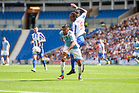 Gaetan Bong of Brighton & Hove Albion (right) during the Friendly match between Brighton and Hove Albion and Lazio at the American Express Community Stadium, Brighton and Hove, England on 31 July 2016. Photo by Edward Thomas / PRiME Media Images.