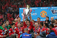 Pictured: Manchester United players celebrating.<br /> Sunday 12 May 2013<br /> Re: Barclay's Premier League, Manchester City FC v Swansea City FC at the Old Trafford Stadium, Manchester.