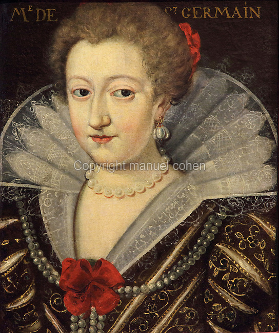 Portrait of Madame de Saint Germain, wearing a lace collar, pearl jewellery and embroidered dress, oil painting on canvas, c. 1625, by unknown artist, from the Gallery of portraits from the Chateau de Saint Germain-Beaupre, Creuse, now in the Musee des Beaux-Arts de la Ville de Blois, housed since 1869 on the first floor of the Louis XII wing of the Chateau Royal de Blois, built 13th - 17th century in Blois in the Loire Valley, Loir-et-Cher, Centre, France. The museum originally opened in 1850 in the Francois I wing, but moved here in 1869 after the rooms had been restored by Felix Duban in 1861-66. The chateau has 564 rooms and 75 staircases and is listed as a historic monument and UNESCO World Heritage Site. Picture by Manuel Cohen