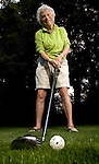 96- year-old Eleanor Rubenstean is ready to strike the golf wiffle ball at her residence in Cedar Hills. Rubenstean plays golf often at the Clairmont Golf Course in Beaverton. When she was in her early 90's she won a national tennis title for her age group.