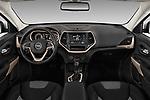 Stock photo of straight dashboard view of a 2018 Jeep Cherokee Latitude 5 Door SUV