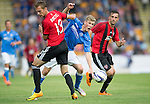 St Johnstone v FC Spartak Trnava...31.07.14  Europa League 3rd Round Qualifier<br /> Daviod Wotherspoon and Milan Bortel<br /> Picture by Graeme Hart.<br /> Copyright Perthshire Picture Agency<br /> Tel: 01738 623350  Mobile: 07990 594431