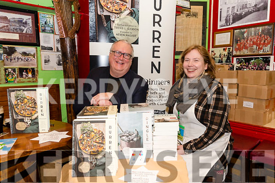 Trevis Gleason launching his latest book 'Burren Dinners' at O'Flaherty's, here pictured with Debbi Lewang (Dingle Lit), during the Dingle Literary Festival over the weekend.