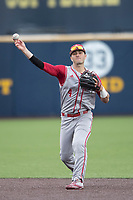 Indiana Hoosiers second baseman Tony Butler (4) makes a throw to first base against the Michigan Wolverines during the NCAA baseball game on April 21, 2017 at Ray Fisher Stadium in Ann Arbor, Michigan. Indiana defeated Michigan 1-0. (Andrew Woolley/Four Seam Images)