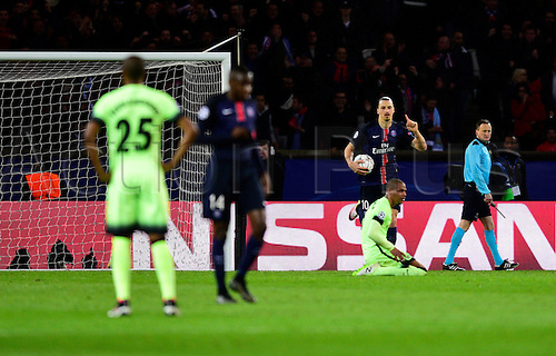 06.04.2016. Paris, France. UEFA CHampions League, quarter-final. Paris St Germain versus Manchester City.  Zlatan Ibrahimovic ( PSG ) scores from a defensive mistake at City