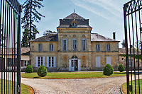 The main chateau building, renovated by Jorgensen, seen through a black iron gate Chateau de Haux Premieres Cotes de Bordeaux Entre-deux-Mers Bordeaux Gironde Aquitaine France