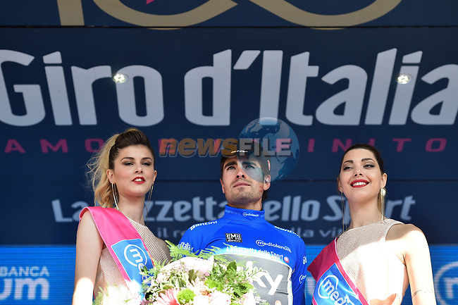 Mikel Landa (ESP) Team Sky takes over the mountains Maglia Azzura at the end of Stage 16 of the 100th edition of the Giro d'Italia 2017, running 222km from Rovetta to Bormio, Italy. 23rd May 2017.<br /> Picture: LaPresse/Massimo Paolone | Cyclefile<br /> <br /> <br /> All photos usage must carry mandatory copyright credit (&copy; Cyclefile | LaPresse/Massimo Paolone)