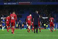 Swansea City manager Paul Clement and his team head back to the changing room looking dejected after the final whistle of the Premier League match between Chelsea and Swansea City at Stamford Bridge, London, England, UK. Wednesday 29 November 2017
