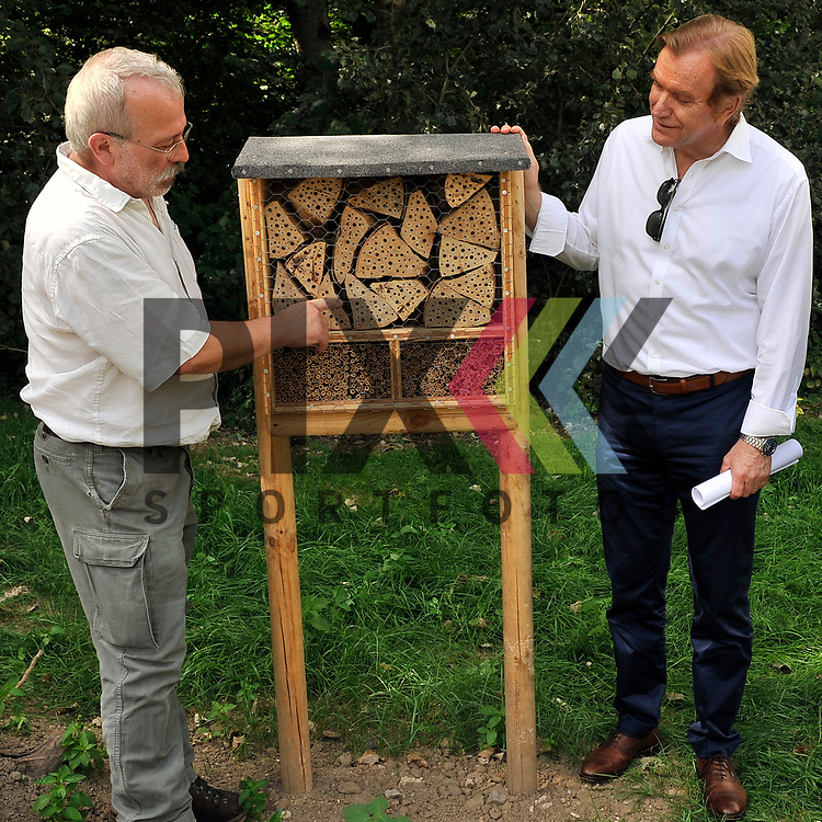 Ludwigshafen 27.06.17 Eroeffnung erste GAG-Bienenweide in Oggersheim Ludwigshafen. Im Bild v.l.: Klaus Eisele (Natutschuetzer) erklaert Ernst Merkel (GAG) das Bienenhotel.<br /> <br /> Foto &copy; Ruffler For editorial use only. (Bild ist honorarpflichtig - No Model Release!)