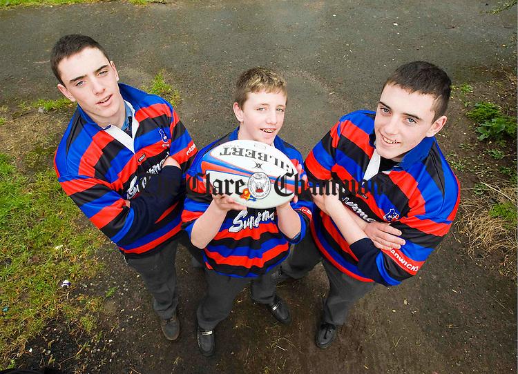 Evan(prop) Darren(scrum-half) and Gavin (prop) Ryan of St Munchins Corbally Limerick.Pic Arthur Ellis.