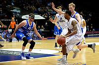 GRONINGEN - Basketbal, Donar - Landstede Zwolle, Martiniplaza,  Dutch Basketball League, seizoen 2017-2018, 12-11-2017,  Donar speler Jason Dourisseau met Landstede speler Olaf Schaftenaar