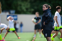 Seattle, WA - Sunday, May 22, 2016: Seattle Reign FC head coach Laura Harvey watches her team during warm-ups prior to a regular season National Women's Soccer League (NWSL) match at Memorial Stadium.