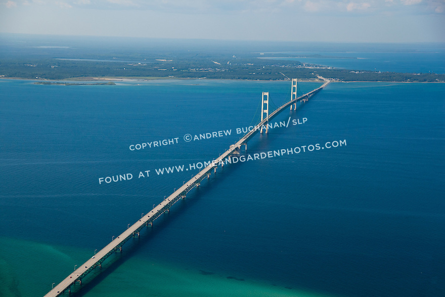 Mackinac Bridge, Michigan looking north to the Upper Peninsula (U.P.)
