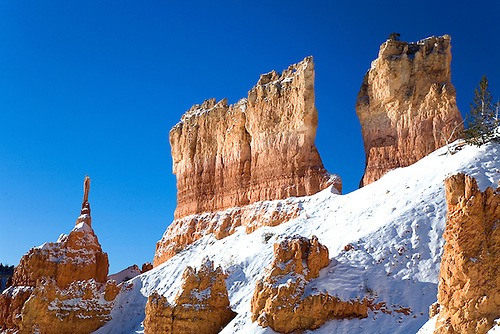 Fresh snow has fallen on the sandstone rock formation at Bryce Canyon National Park, Utah
