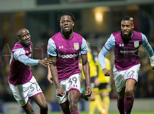26th September 2017, Pirelli Stadium, Burton upon Trent, England; EFL Championship football, Burton Albion versus Aston Villa; Keinan Davis celebrates after scoring with a header in the 13th minute (0-1)