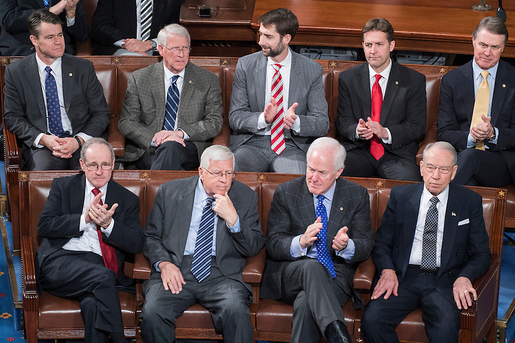 UNITED STATES - JANUARY 06: First row from left, Sens. James Risch, R-Idaho, Mike Enzi, R-Wyo., John Conryn, R-Texas, and Charles Grassley, R-Iowa, attend a joint session of Congress to tally the Electoral College votes for the president and vice president of the United States, January 06, 2017. Second row are, from left, Sens. Todd Young, R-Ind., Roger Wicker, R-Miss., Tom Cotton, R-Ark., Ben Sasse, R-Neb., and David Perdue, R-Ga. (Photo By Tom Williams/CQ Roll Call)