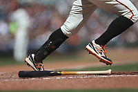 SAN FRANCISCO, CA - SEPTEMBER 15:  Detail of New Era cleats belonging to Evan Longoria #10 of the San Francisco Giants as he bats against the Miami Marlins during the game at Oracle Park on Sunday, September 15, 2019 in San Francisco, California. (Photo by Brad Mangin)