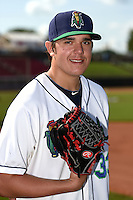 Cedar Rapids Kernels pitcher Lewis Thorpe (33) poses for a photo before a game against the Quad Cities River Bandits on August 19, 2014 at Perfect Game Field at Veterans Memorial Stadium in Cedar Rapids, Iowa.  Cedar Rapids defeated Quad Cities 5-3.  (Mike Janes/Four Seam Images)