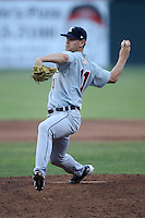 Connecticut Tigers pitcher Drew Gagnier (11) during a game vs. the Batavia Muckdogs at Dwyer Stadium in Batavia, New York July 8, 2010.   Connecticut defeated Batavia 4-2 in extra innings.  Photo By Mike Janes/Four Seam Images