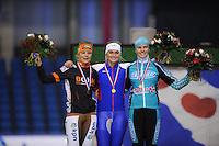 SCHAATSEN: HEERENVEEN: IJsstadion Thialf, 02-01-2013, Seizoen 2012-2013, KPN NK Mass-Start, eindpodium Dames, Mariska Huisman (#76), Irene Schouten (#80), Carla Zielman (#13), ©foto Martin de Jong