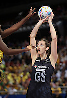 11.08.2015 Silver Ferns Bailey Mes in action during the Silver Ferns v Jamaica netball match at the 2015 Netball World Cup at All Phones Arena in Sydney Australia. Mandatory Photo Credit ©Michael Bradley.