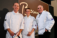 Melbourne, 30 May 2017 - Michael Cole and Laura Skvor of the Georgie Bass Cafe & Cookery in Flinders pose for a photograph with Tom Milligan of the Bocuse d'Or Academy Australia after winning the Australian selection trials of the Bocuse d'Or culinary competition held during the Food Service Australia show at the Royal Exhibition Building in Melbourne, Australia. Photo Sydney Low
