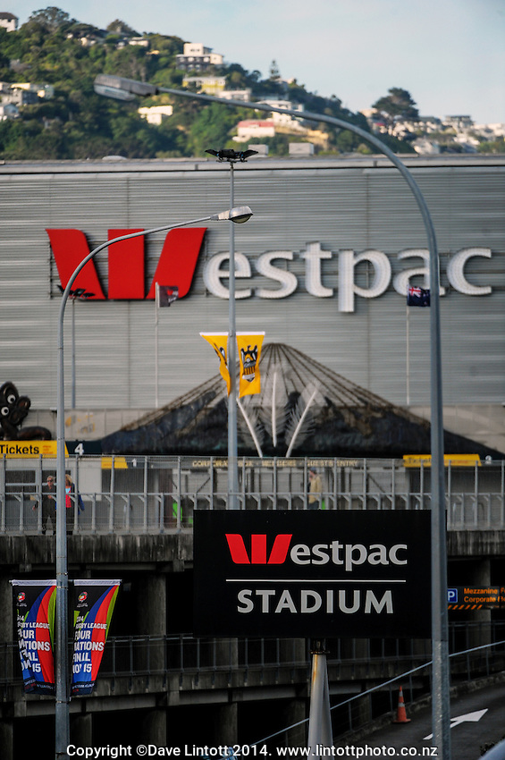 A general view of the exterior of Westpac Stadium during the A-League football match between Wellington Phoenix and Melbourne City FC at Westpac Stadium, Wellington, New Zealand on Friday, 30 November 2014. Photo: Dave Lintott / lintottphoto.co.nz