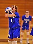 28 October 2012: Yeshiva University Maccabee Moriah Green, a Senior from Anchorage, Alaska, in action against the Old Westbury Panthers at SUNY Old Westbury in Old Westbury, NY. The Panthers defeated the Maccabees 3-0 in NCAA women's volleyball play. Mandatory Credit: Ed Wolfstein Photo