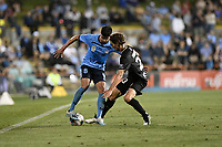 1st November 2019; Leichhardt Oval, Sydney, New South Wales, Australia; A League Football, Sydney Football Club versus Newcastle Jets; Paulo Retre of Sydney cuts the ball back as Matthew Ridenton of Newcastle Jets challenges - Editorial Use