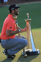Jon Rahm (ESP) with the trophy after the final round of the DP World Championship, Earth Course, Jumeirah Golf Estates, Dubai, UAE. 24/11/2019<br /> Picture: Golffile | Phil INGLIS<br /> <br /> <br /> All photo usage must carry mandatory copyright credit (© Golffile | Phil INGLIS)