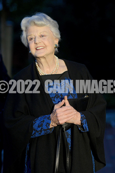 NEW HOPE, PA -  OCTOBER 28: Actress Angela Lansbury arrives before being presented with a commemorative brick to be installed in the walkway October 28, 2013 at the Bucks County Playhouse in New Hope, Pennsylvania.  Lansbury,  five-time Tony Award winning actress is the first inductee of the Bucks County Playhouse's Hall of Fame.(Photo by William Thomas Cain/Cain Images)