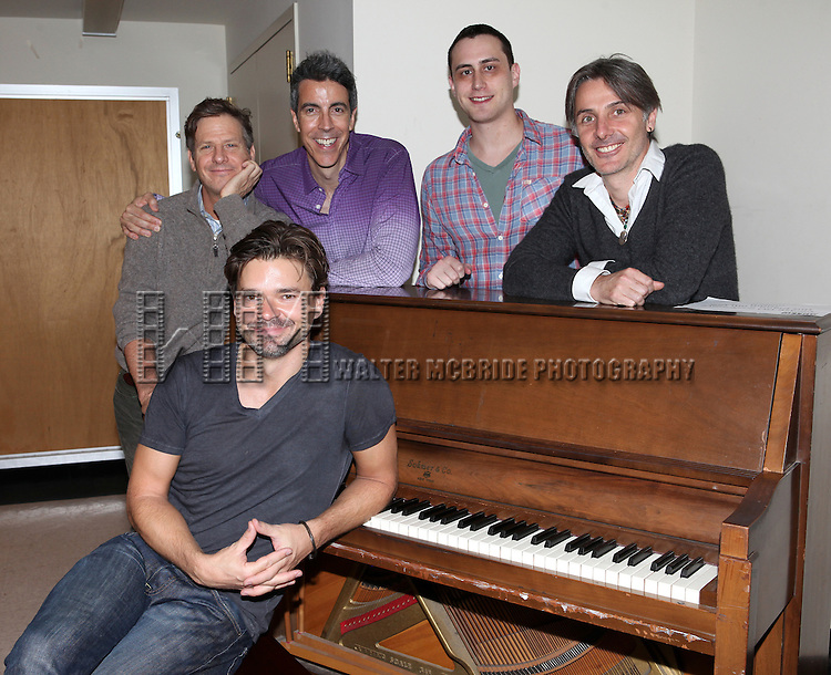 Hunter Foster with Martin Moran, Joseph Thalken, Paul Masse and Jonathan Butterell rehearsing for  'Borrowed Dust' part of  'Inner Voices' A Trilogy about Intimate Explorations of Courage, Loss and Acceptance at the MTC Studios on 10/23/2012 in New York City.