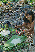 Mato Grosso State, Brazil. Aldeia Metuktire (Kayapo). Nhredjan Tapayuna preparing to cook fish and manioc (in the leaves).