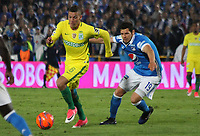 BOGOTA -COLOMBIA, 7-06-2017.Pedro Franco  player of Millonarios fights the ball  agaisnt of  Andres Uribe player of Atletico Nacional .Action game between  Millonarios  and Atletico Nacional during match for quarter finals of the Aguila League I 2017 played at Nemesio Camacho El Campin stadium . Photo:VizzorImage / Felipe Caicedo  / Staff