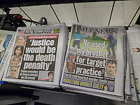 The competing tabloids, the New York Daily News and the New York Post use different news items for their front pages on Thursday, April 9, 2015. While the NYDN uses the police shooting in South Carolina, the NYP uses the conviction of Dzhokhar Tsarnaev in Boston. (© Richard B. Levine)