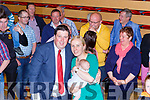 Niall Kelleher is congraulated by his wife and his baby son when he was elected in Killarney on Sunday