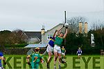 Eoin O'Sullivan, The Sem, Killarney, gets up above Conor Horan, The Green, Tralee when the sides met at the Austin Stacks Pitch, Tralee last Wednesday Nov 2, in the Munster collages.