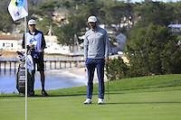 Dustin Johnson (USA) on the 5th green at Pebble Beach Golf Links during Saturday's Round 3 of the 2017 AT&amp;T Pebble Beach Pro-Am held over 3 courses, Pebble Beach, Spyglass Hill and Monterey Penninsula Country Club, Monterey, California, USA. 11th February 2017.<br /> Picture: Eoin Clarke | Golffile<br /> <br /> <br /> All photos usage must carry mandatory copyright credit (&copy; Golffile | Eoin Clarke)