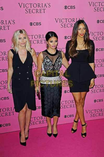 LONDON, ENGLAND - DECEMBER 2:  Mollie King, Vanessa White and Rochelle Humes of The Saturdays attend the pink carpet for Victoria's Secret Fashion Show 2014, Earls Court on December 2, 2014 in London, England.<br /> CAP/MAR<br /> &copy; Martin Harris/Capital Pictures