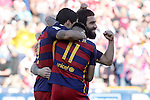 FC Barcelona's Arda Turan celebrates goal with his partners during La Liga match. May 14,2016. (ALTERPHOTOS/Acero)