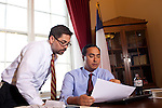Freshman  Congressman, United States Representative Joaqin Castro, right, from San Antonio, Texas reviews vote recommendations with his Chief of Staff Carlos Sanchez at his office in the Cannon Building in Washington, DC on July 24, 2013. CREDIT: Lance Rosenfield/Prime